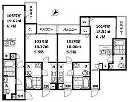 JR山手線 大崎駅 徒歩13分の賃貸アパート 3階1Kの間取り