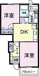 東武桐生線 新桐生駅 徒歩15分の賃貸アパート 1階2DKの間取り
