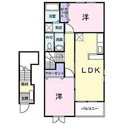ひたちなか海浜鉄道 金上駅 徒歩11分の賃貸アパート 2階2LDKの間取り