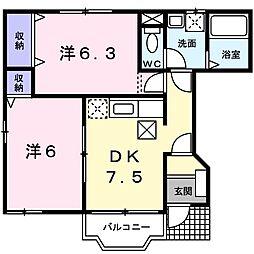 JR東海道本線 鴨宮駅 バス9分 川東タウンセンター下車 徒歩9分の賃貸アパート 1階2DKの間取り