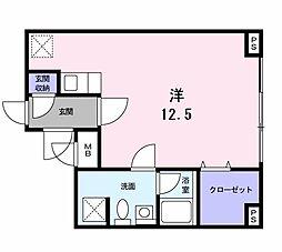 横浜市営地下鉄グリーンライン 北山田駅 徒歩5分の賃貸マンション 2階1Kの間取り