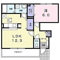 JR湖西線 安曇川駅 徒歩10分の賃貸アパート 1階1LDKの間取り