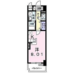 JR山陽本線 新長田駅 徒歩9分の賃貸マンション 2階1Kの間取り