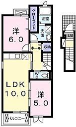 JR八高線 金子駅 徒歩20分の賃貸アパート 2階2LDKの間取り