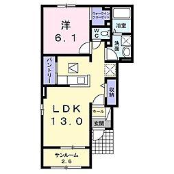 JR両毛線 小俣駅 3.1kmの賃貸アパート 1階1LDKの間取り