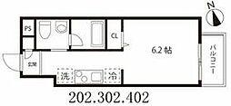 東京メトロ半蔵門線 押上駅 徒歩5分の賃貸マンション 3階1Kの間取り