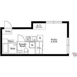 京王線 初台駅 徒歩5分の賃貸マンション 2階ワンルームの間取り