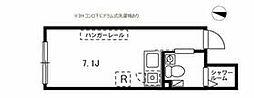 東急大井町線 北千束駅 徒歩3分の賃貸マンション 2階ワンルームの間取り