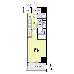 名古屋市営桜通線 丸の内駅 徒歩8分の賃貸マンション 8階1Kの間取り