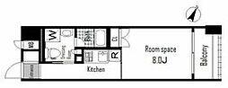 東京メトロ日比谷線 人形町駅 徒歩4分の賃貸マンション 2階ワンルームの間取り
