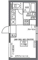 東京メトロ千代田線 西日暮里駅 徒歩6分の賃貸マンション 2階1Kの間取り