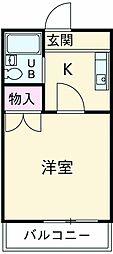 小田急小田原線 玉川学園前駅 徒歩13分の賃貸アパート 2階1Kの間取り
