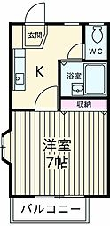 小田急小田原線 玉川学園前駅 徒歩14分の賃貸アパート 2階1Kの間取り
