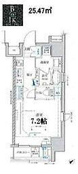 東京メトロ東西線 門前仲町駅 徒歩6分の賃貸マンション 7階1Kの間取り