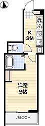 京成本線 お花茶屋駅 徒歩10分の賃貸アパート 1階1Kの間取り
