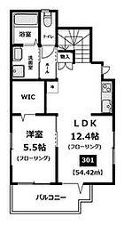 都営大江戸線 都庁前駅 徒歩10分の賃貸マンション 3階1LDKの間取り