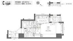 都営大江戸線 月島駅 徒歩6分の賃貸マンション 4階1Kの間取り
