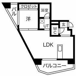 西鉄天神大牟田線 高宮駅 徒歩3分の賃貸マンション 4階1LDKの間取り