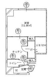 東京メトロ日比谷線 南千住駅 徒歩5分の賃貸マンション 5階1DKの間取り
