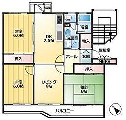 秋津第1団地3-2号棟 4階3LDKの間取り