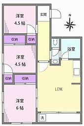 JR山手線 目白駅 徒歩9分の賃貸マンション 3階3LDKの間取り