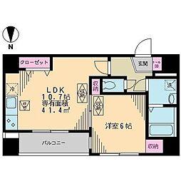 JR総武線 浅草橋駅 徒歩2分の賃貸マンション 6階1LDKの間取り