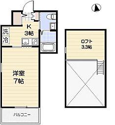 京成本線 お花茶屋駅 徒歩10分の賃貸アパート 3階1Kの間取り