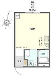 JR山手線 日暮里駅 徒歩10分の賃貸マンション 3階ワンルームの間取り