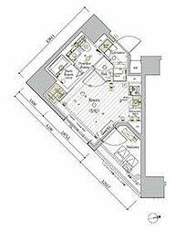 JR京浜東北・根岸線 大森駅 徒歩11分の賃貸マンション 12階ワンルームの間取り