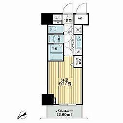 東京メトロ有楽町線 新富町駅 徒歩2分の賃貸マンション 4階1Kの間取り