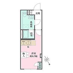 JR京浜東北・根岸線 大井町駅 徒歩6分の賃貸マンション 4階ワンルームの間取り