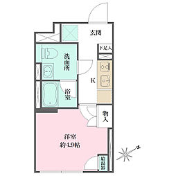 JR京浜東北・根岸線 大井町駅 徒歩6分の賃貸マンション 5階1Kの間取り
