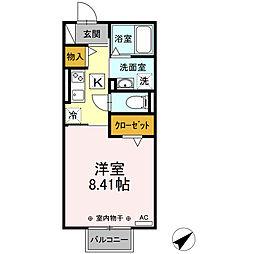 近鉄名古屋線 霞ヶ浦駅 徒歩12分の賃貸アパート 1階1Kの間取り
