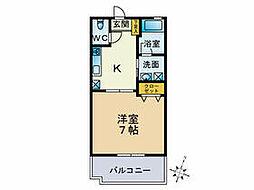 JR鹿児島本線 福工大前駅 徒歩4分の賃貸アパート 2階1Kの間取り