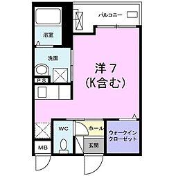 JR東海道本線 平塚駅 徒歩14分の賃貸アパート 2階1Kの間取り