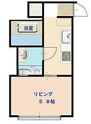 東京メトロ東西線 門前仲町駅 徒歩9分の賃貸マンション 2階ワンルームの間取り