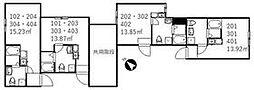京成本線 新三河島駅 徒歩3分の賃貸アパート 2階ワンルームの間取り