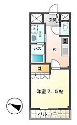つくばエクスプレス つくば駅 徒歩9分の賃貸マンション 1階1Kの間取り