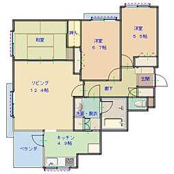 リーベスト勝田台・フォンテーヌの街 3階3LDKの間取り