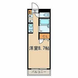 JR中央線 西八王子駅 徒歩4分の賃貸マンション 4階ワンルームの間取り