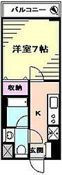 アンソレイユ横浜 7階1Kの間取り