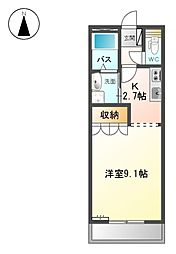 JR高山本線 岐阜駅 バス15分 佐兵衛新田下車 徒歩3分の賃貸アパート 2階1Kの間取り