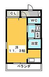 静岡鉄道静岡清水線 音羽町駅 徒歩2分の賃貸マンション 5階ワンルームの間取り