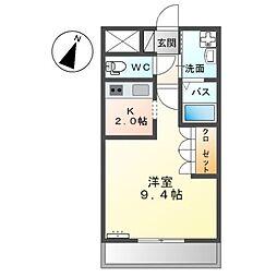 東武伊勢崎線 太田駅 徒歩21分の賃貸アパート 2階1Kの間取り