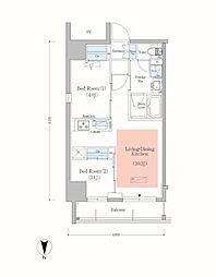 JR総武本線 錦糸町駅 徒歩8分の賃貸マンション 6階2LDKの間取り