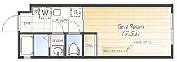東京メトロ南北線 本駒込駅 徒歩8分の賃貸マンション 2階ワンルームの間取り
