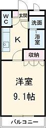 東武伊勢崎線 北春日部駅 徒歩15分の賃貸マンション 2階1Kの間取り