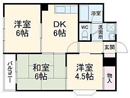 JR東海道本線 小田原駅 バス5分 山王下車 徒歩1分の賃貸マンション 3階3DKの間取り