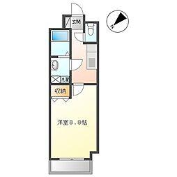 東武伊勢崎線 春日部駅 徒歩5分の賃貸マンション 4階1Kの間取り