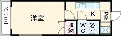 間取り,1K,面積22.47m2,賃料2.5万円,JR東北本線 宇都宮駅 バス20分 星ヶ丘中前下車 徒歩10分,,栃木県宇都宮市星が丘1丁目